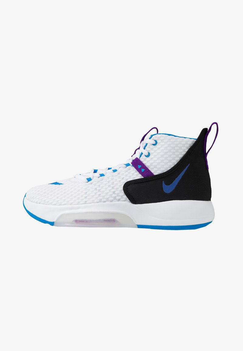 Nike Performance - ZOOM RIZE - Obuwie do koszykówki - white/photo blue/black/voltage purple