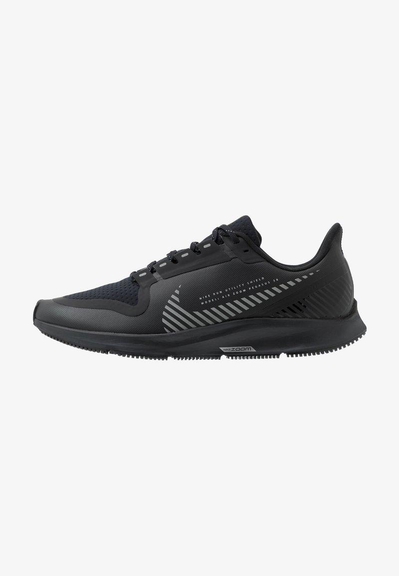 Nike Performance - AIR ZOOM PEGASUS 36 SHIELD - Neutral running shoes - black/metallic silver