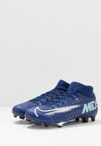 Nike Performance - MERCURIAL 7 ACADEMY FG/MG - Korki Turfy - blue void/metallic silver/white/black - 2