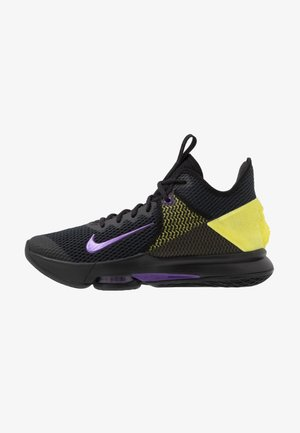 LEBRON WITNESS IV - Basketball shoes - black/voltage purple/opti yellow/white