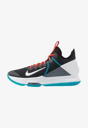 LEBRON WITNESS IV - Koripallokengät - black/white/chile red/glass blue