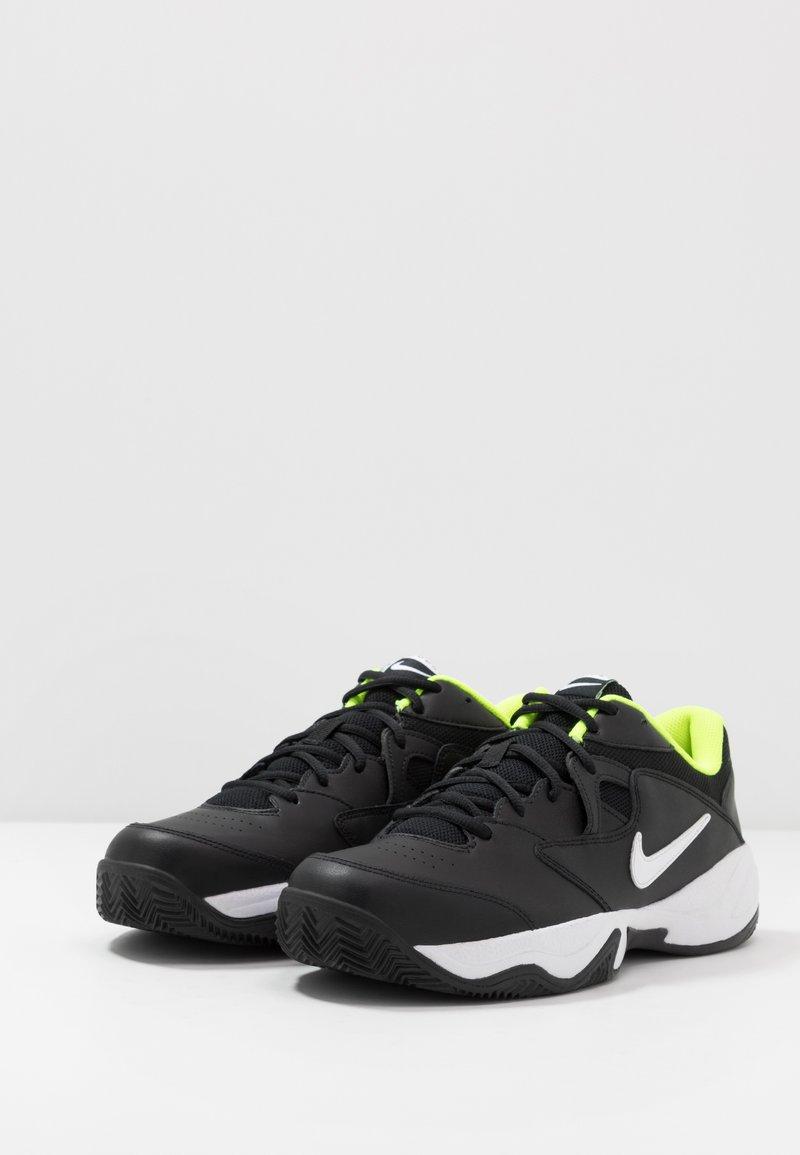 Nike Performance COURT LITE 2 CLAY - Clay court tennissko - black/white/volt