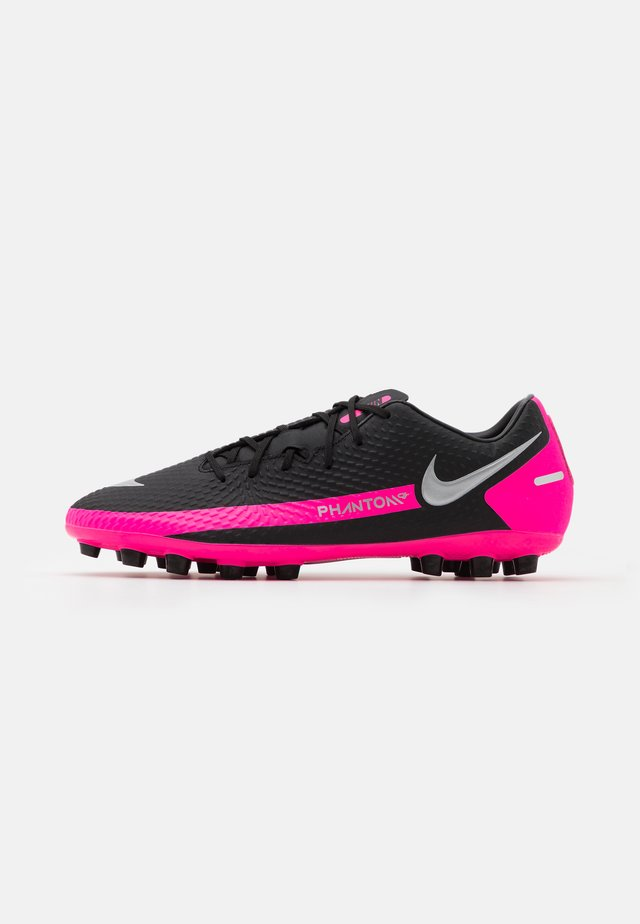 PHANTOM GT ACADEMY AG - Fotbollsskor fasta dobbar - black/metallic silver/pink blast