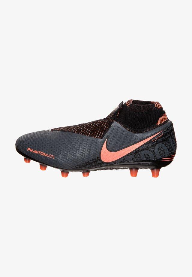 Voetbalschoenen met kunststof noppen - dark grey / bright mango / black