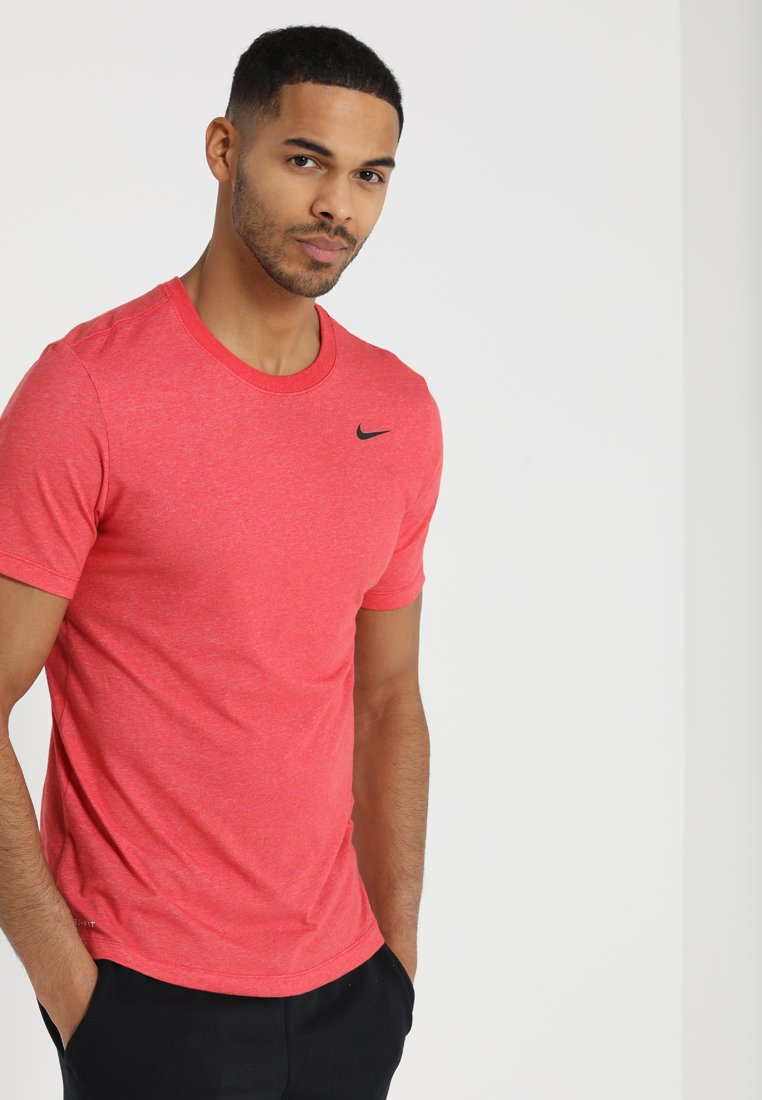 Nike Performance - DRY TEE CREW SOLID - Basic T-shirt - light university red heather/black