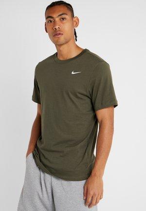DRY TEE CREW SOLID - Basic T-shirt - cargo khaki/white