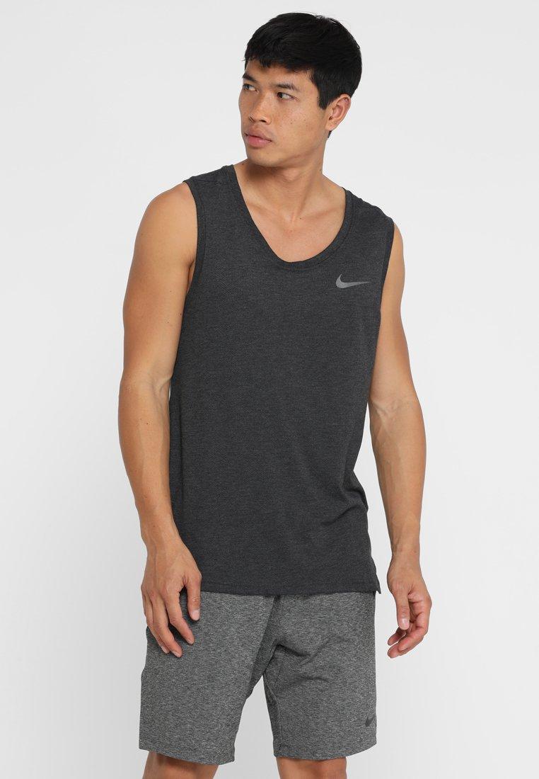 Nike Performance - TANK HYPERDRY - Sportshirt - black heather/metallic hematite