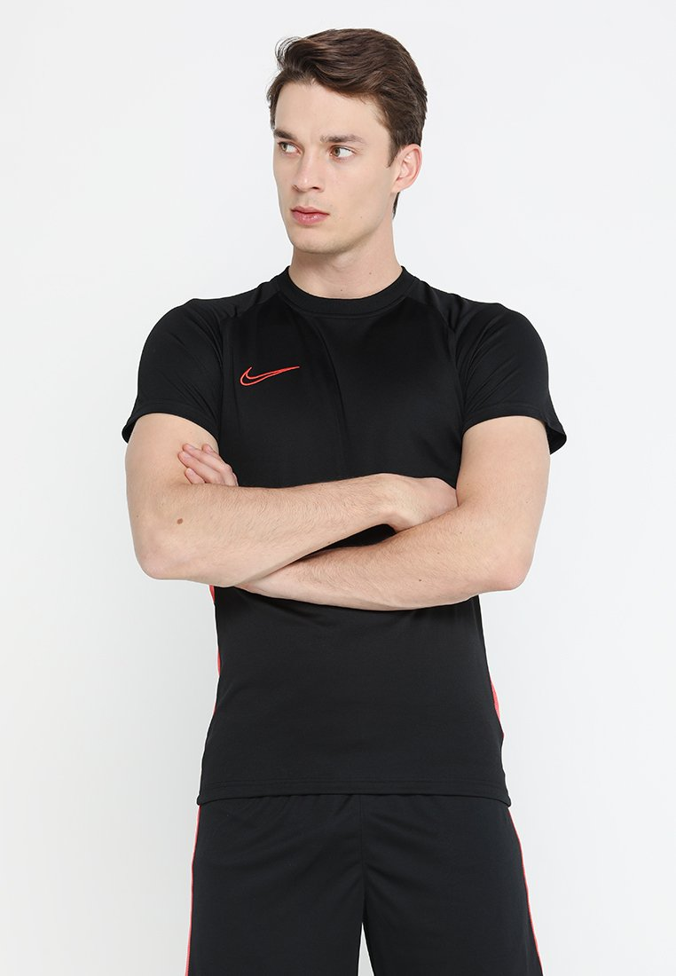 Nike Performance - DRY ACDMY  - Print T-shirt - black/ember glow