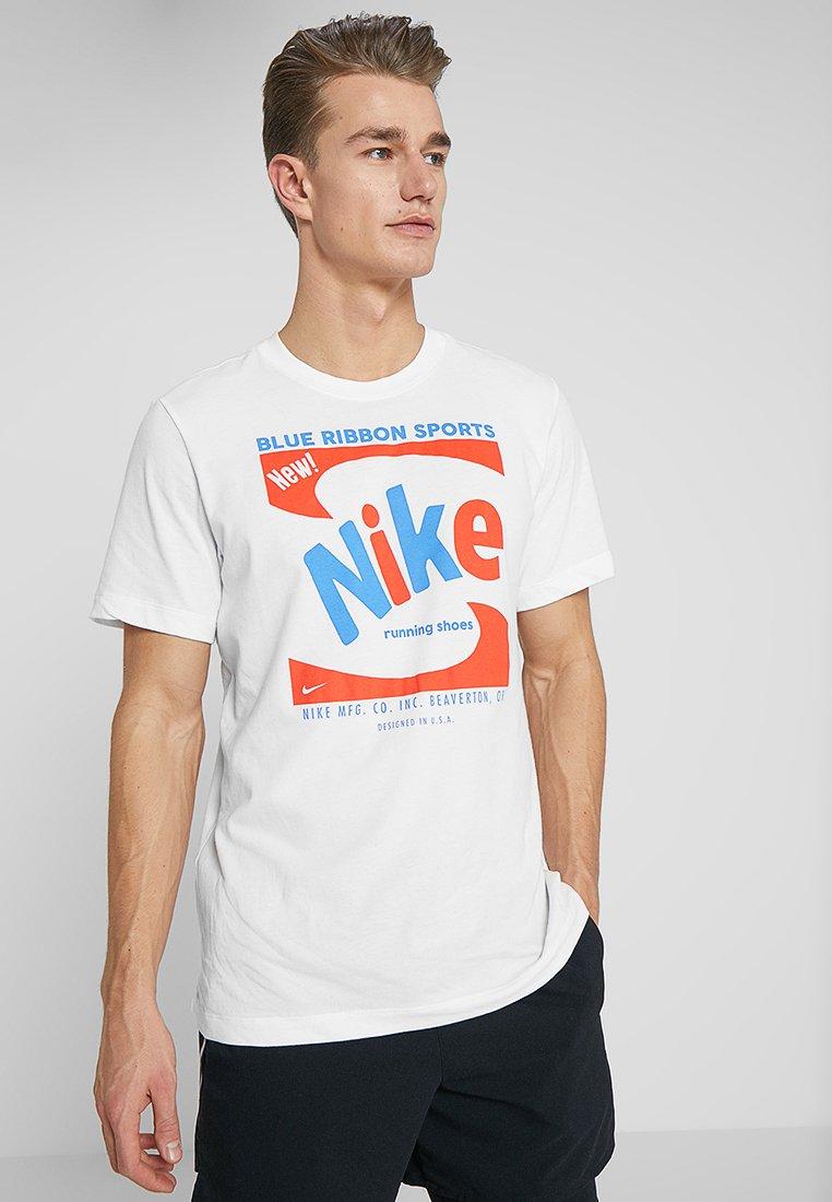 Nike Performance - DRY RUN TEE - Print T-shirt - white/pacific blue