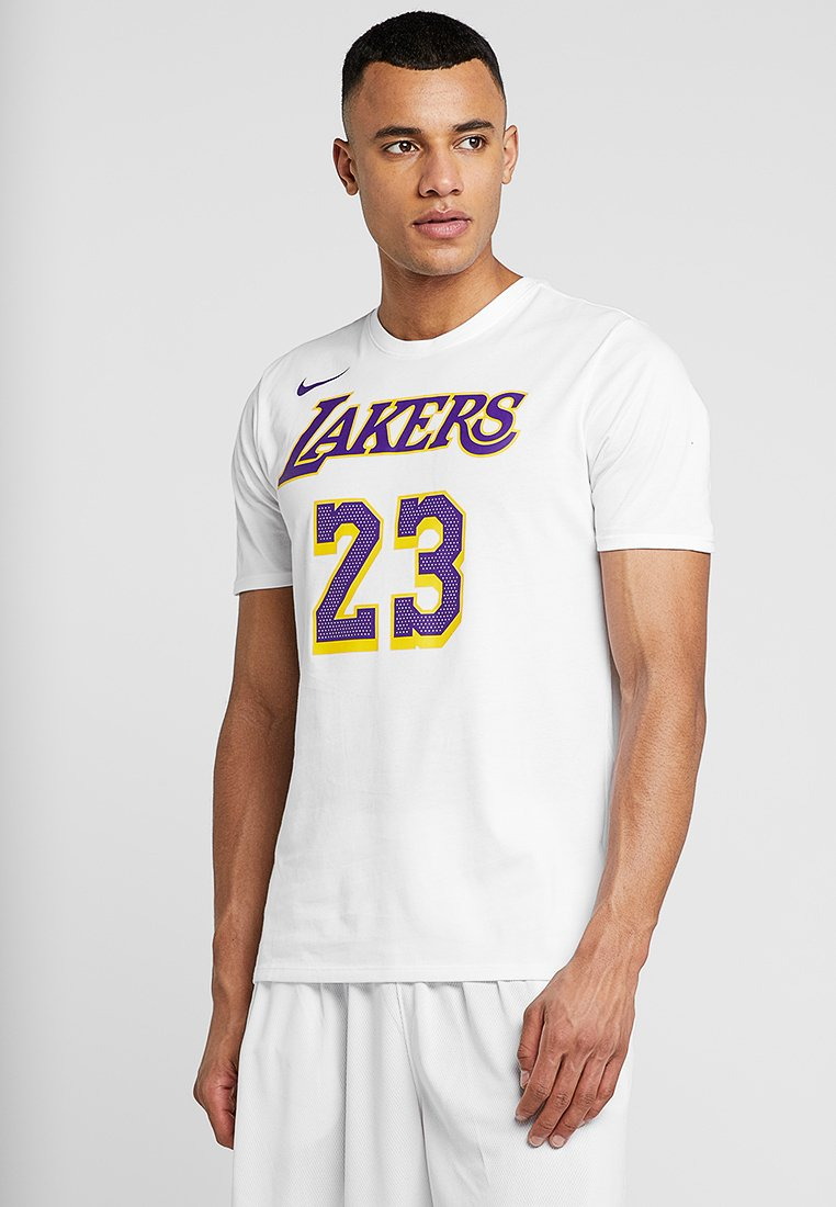 Nike Performance - NBA LA LAKERS LEBRON JAMES NAME NUMBER TEE - Klubbkläder - white