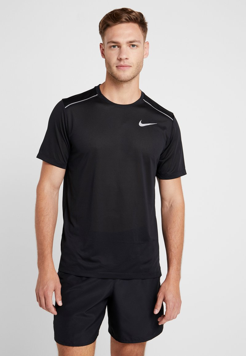 Nike Performance - DRY COOL MILER - T-shirt - bas - black/reflective silv