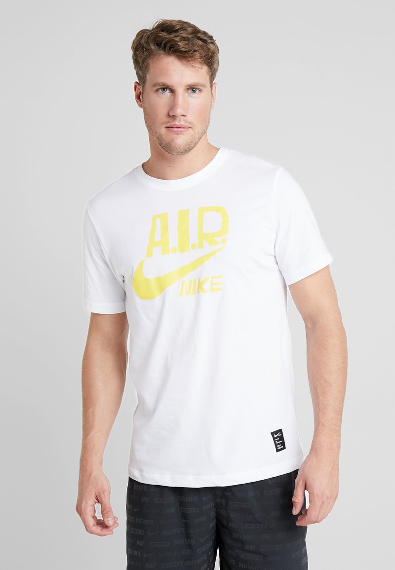 Nike Performance - M NK DRY TEE A.I.R. COLLECTION - T-shirt med print - white/chrome yellow