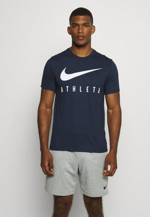 DRY TEE ATHLETE - T-shirt imprimé - obsidian/white