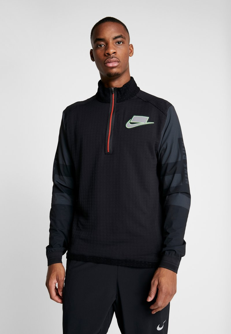 Nike Performance - WILD RUN MIDLAYER - T-shirt sportiva - black/off noir/silver