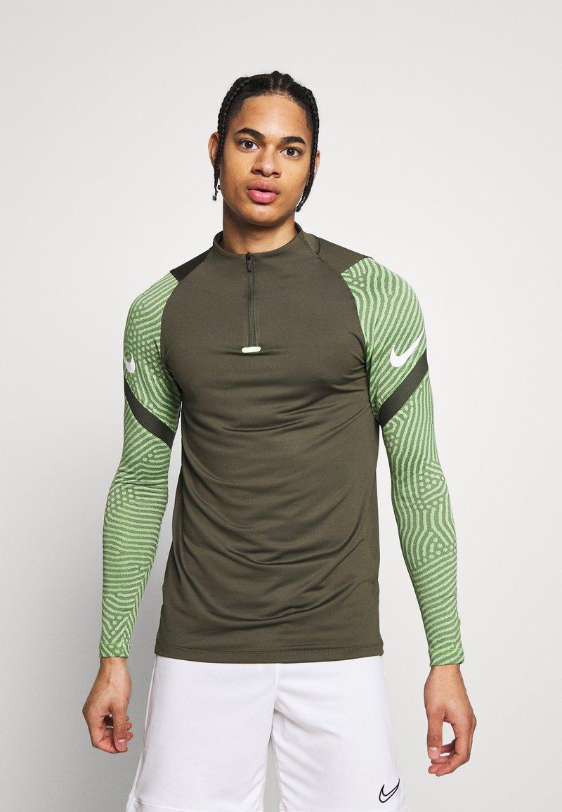 Nike Performance - DRY STRIKE DRILL - Sports shirt - cargo khaki/cargo khaki/white