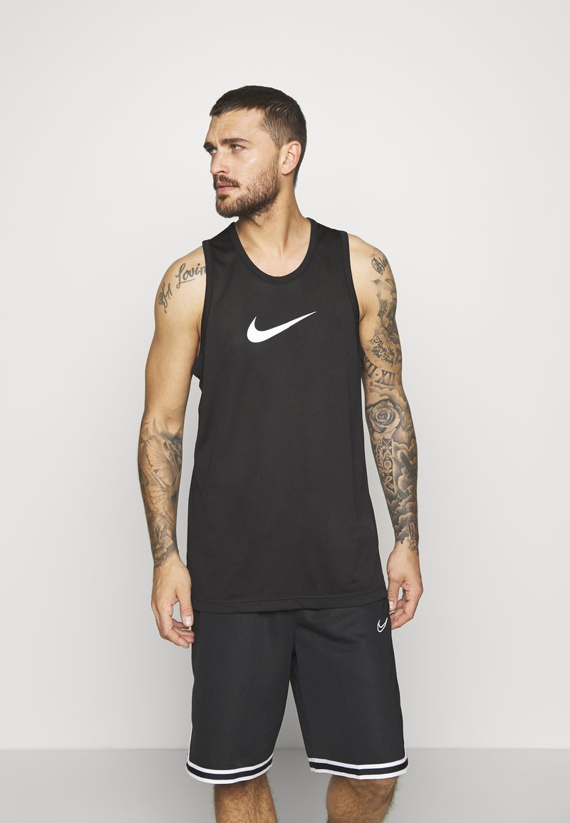 Nike Performance - DRY CROSSOVER - Sports shirt - black/white