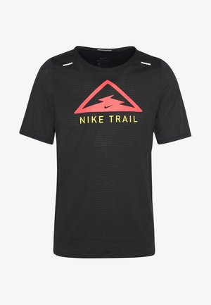 M NK RISE 365 TOP SS TRAIL - Print T-shirt - black/laser crimson