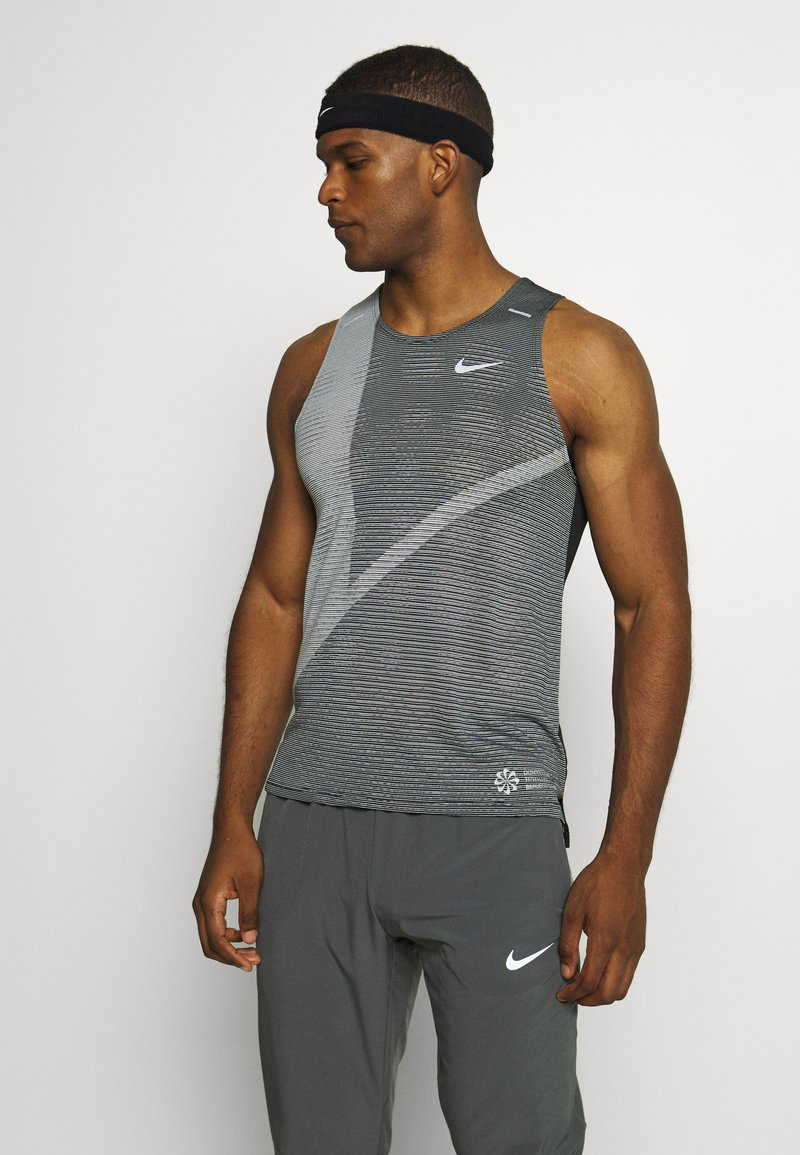 Nike Performance - RISE 365 TANK HYBRID - Sports shirt - black/grey fog/silver