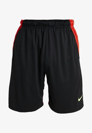 DRY SHORT HYBRID - Träningsshorts - black/habanero red/electric green