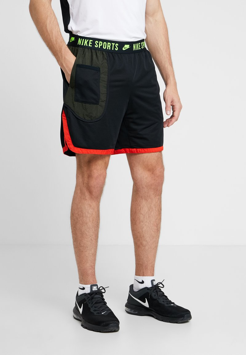 Nike Performance - DRY SHORT - Pantalón corto de deporte - black/sequoia/habanero red/electric green