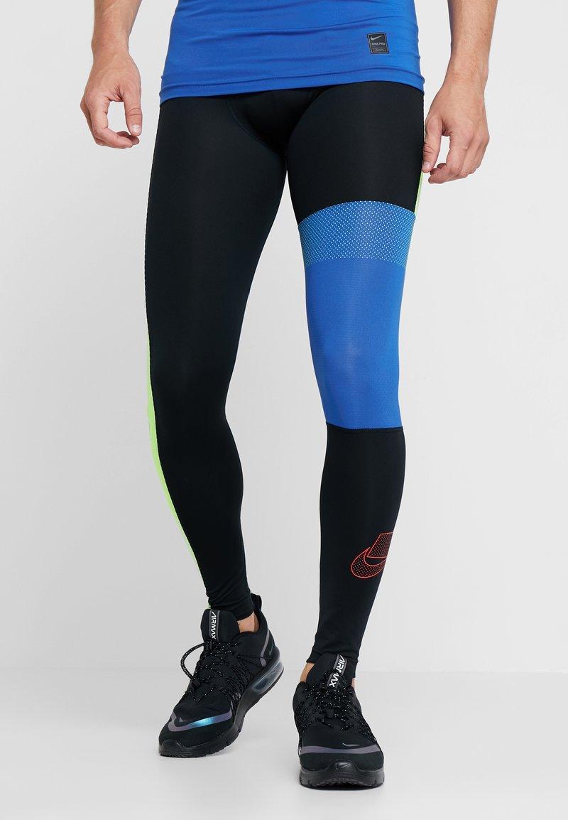 Nike Performance - Leggings - black/game royal/electric green/habanero red