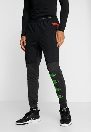 PANT - Tracksuit bottoms - black heather/black/scream green