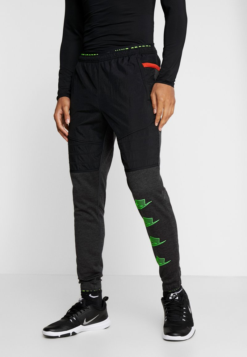 Nike Performance - PANT - Trainingsbroek - black heather/black/scream green