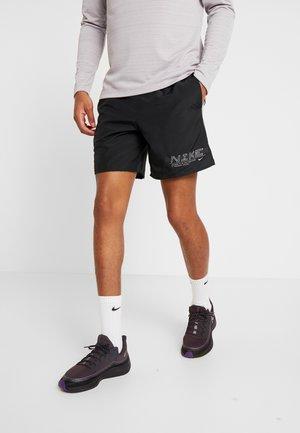 SHORT - Sports shorts - black/silver
