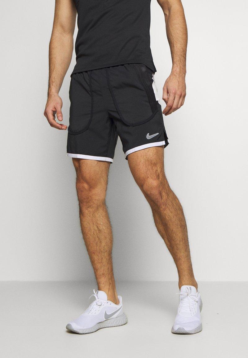 Nike Performance - Sports shorts - black/white/reflective silver