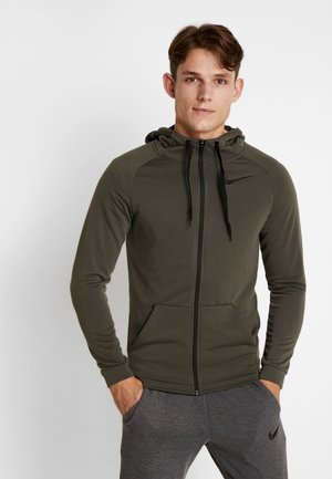 Zip-up hoodie - cargo khaki/black