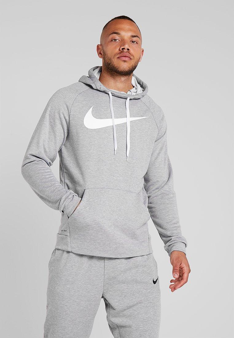 Nike Performance - DRY HOODIE - Luvtröja - dark grey heather/white