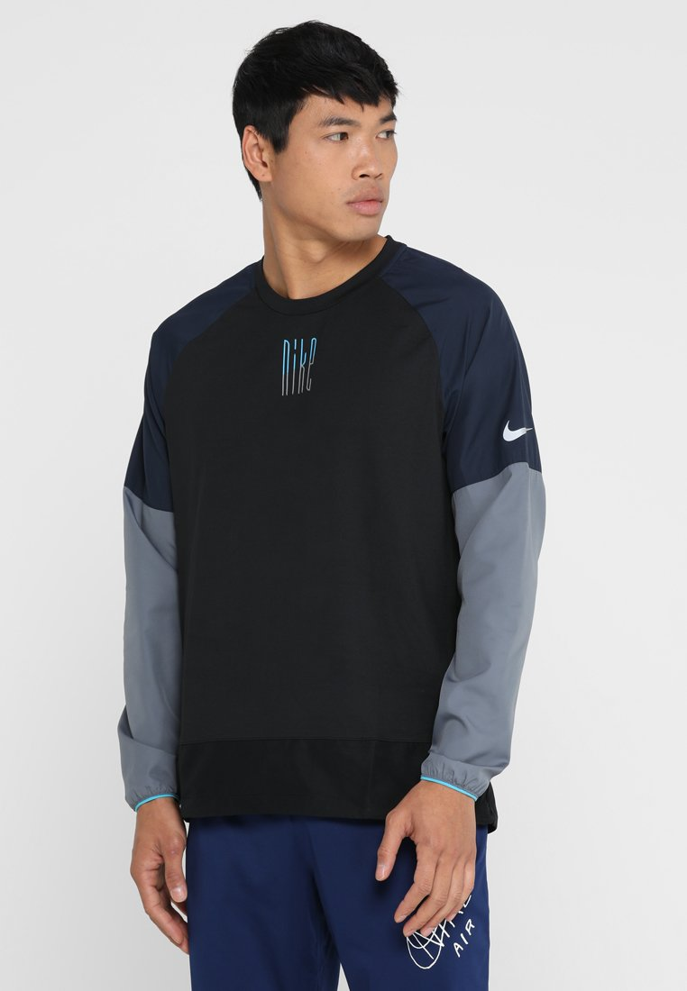 Nike Performance - WILD RUN CREW - Funktionsshirt - black/obsidian/armory blue/silver