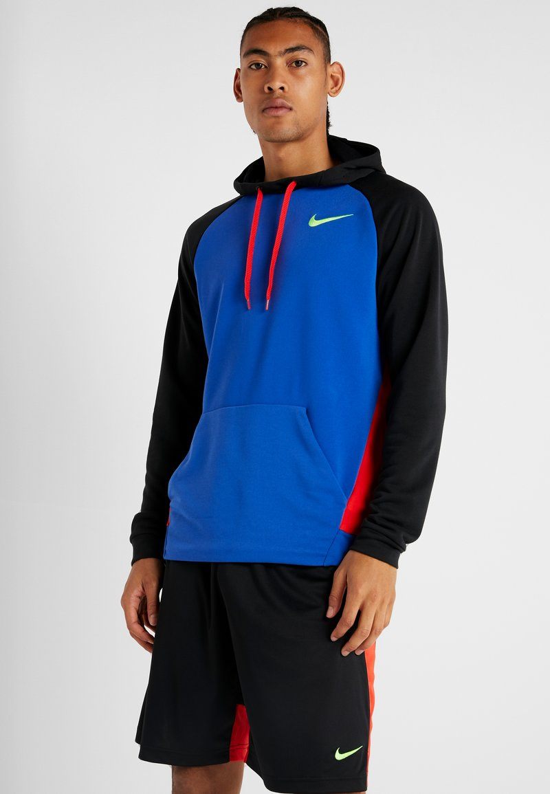 Nike Performance - DRY HOODIE - Sweat à capuche - game royal/black/habanero red/electric green