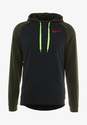 DRY HOODIE - Jersey con capucha - black/sequoia/electric green/habanero red