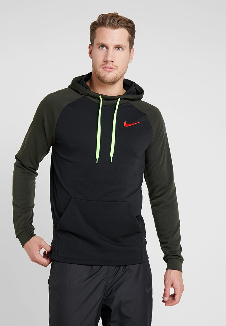 Nike Performance - DRY HOODIE - Jersey con capucha - black/sequoia/electric green/habanero red