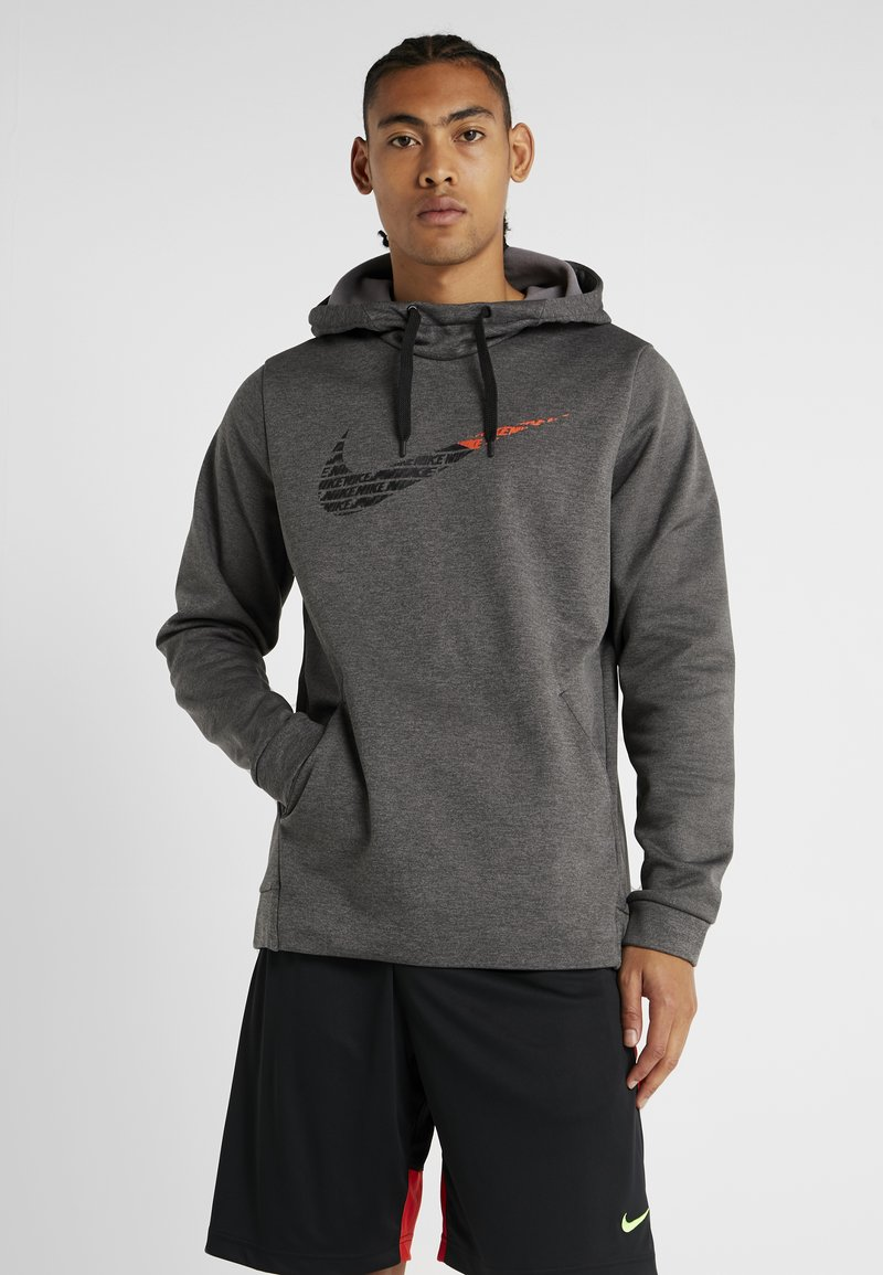 Nike Performance - THERMA  - Hoodie - charcoal heathr