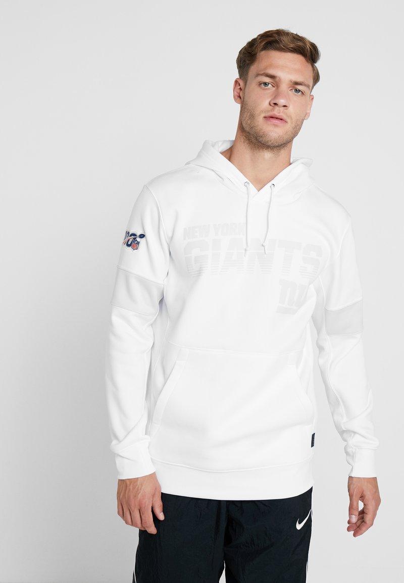 Nike Performance - NFL 10 YEARS NEW YORK GIANTS THERMA HOODY - Hoodie - white/pure platinum