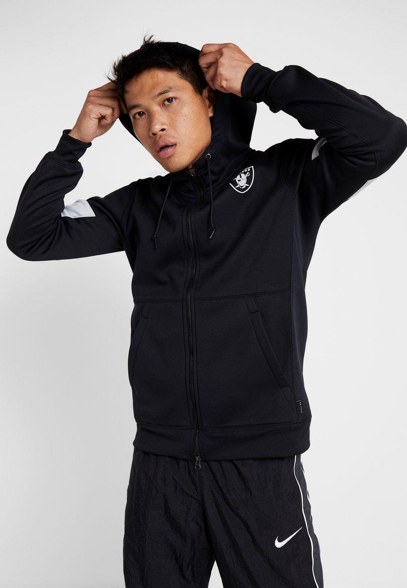 Nike Performance - NFL OAKLAND RAIDERS THERMA FULL ZIP - Fanartikel - black/field silver