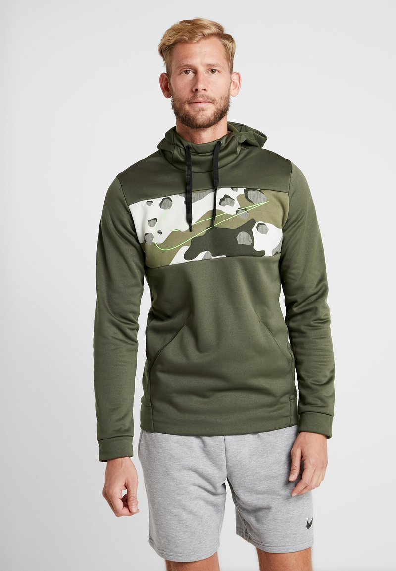 Nike Performance - M NK THRMA HD PO CMO  - Jersey con capucha - cargo khaki/electric green