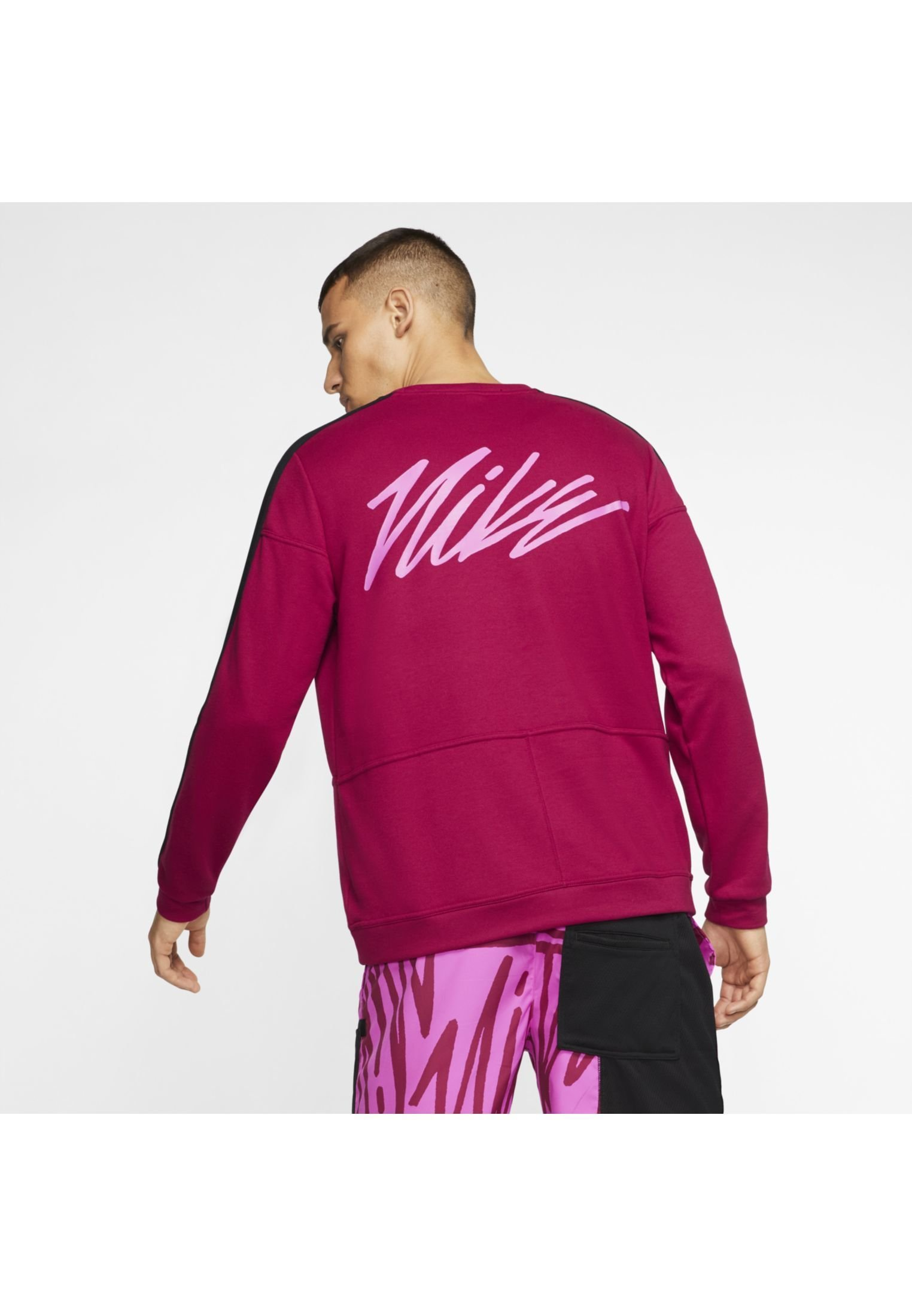 Nike Performance M NK DRY TOP FLEECE PX - Bluza - noble red/black/fire pink/fire pink