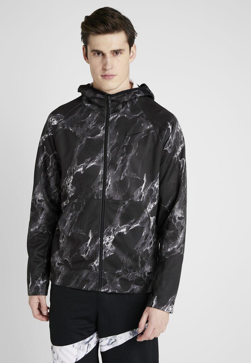 Nike Performance - SPOTLIGHT HOODIE FULL ZIP MARBLE - Veste de survêtement - black/black