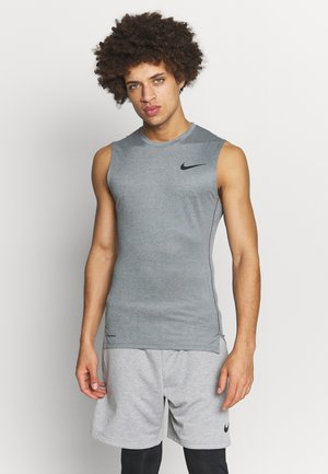 M NP TOP SL TIGHT - Camiseta de deporte - smoke grey/light smoke grey/black