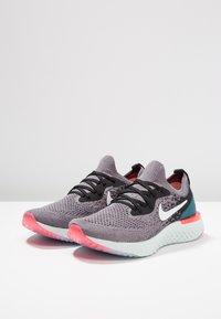 Nike Performance - EPIC REACT FLYKNIT - Neutral running shoes - gunsmoke/white/black/geode teal/hot punch - 3