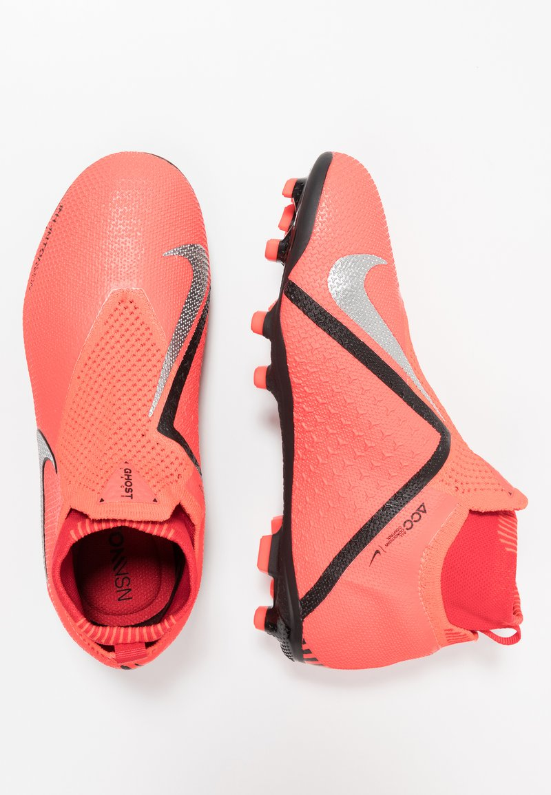 Nike Performance - PHANTOM ELITE DF FG/MG - Fußballschuh Nocken - bright crimson/metallic silver/universal red/gym red/black