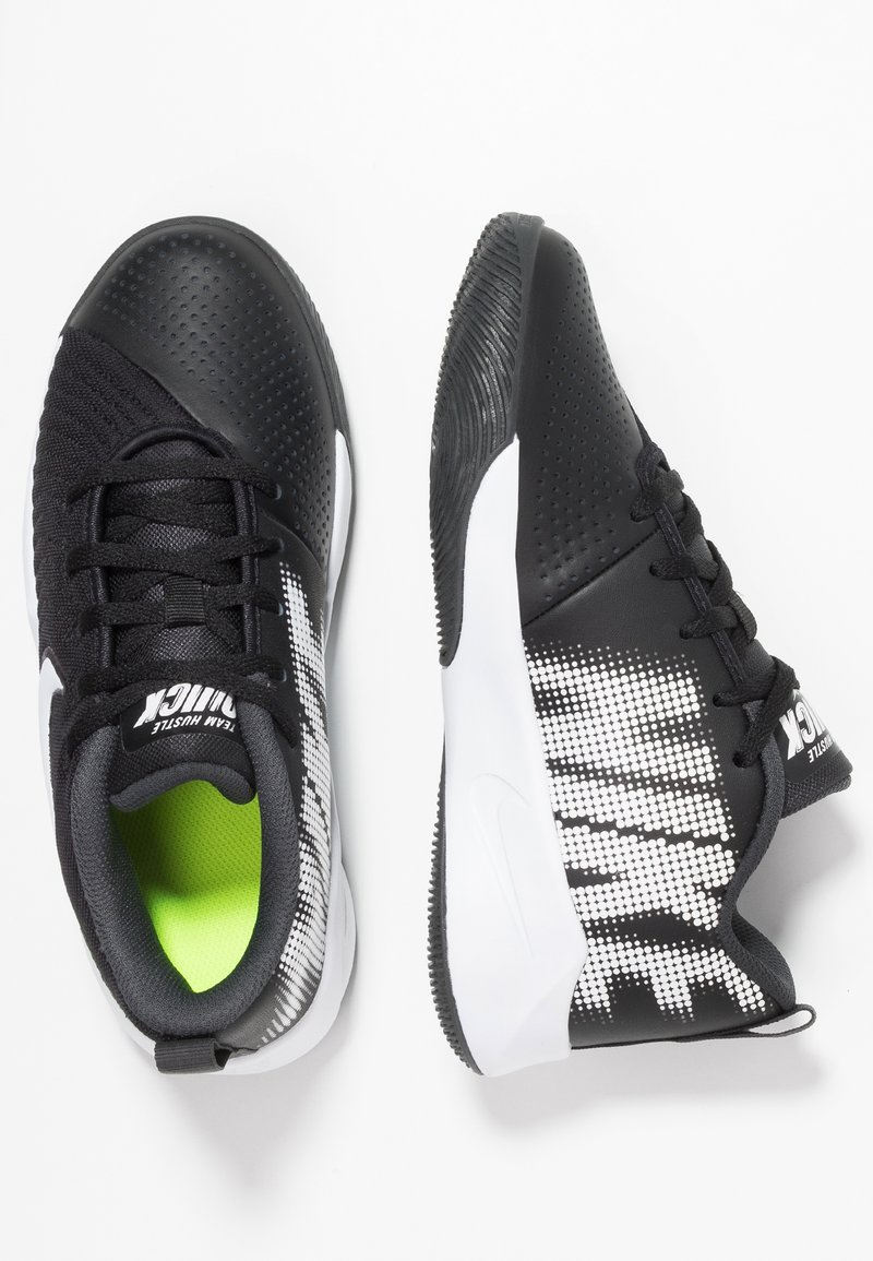 Nike Performance - TEAM HUSTLE QUICK 2 - Basketball shoes - black/white/anthracite/volt