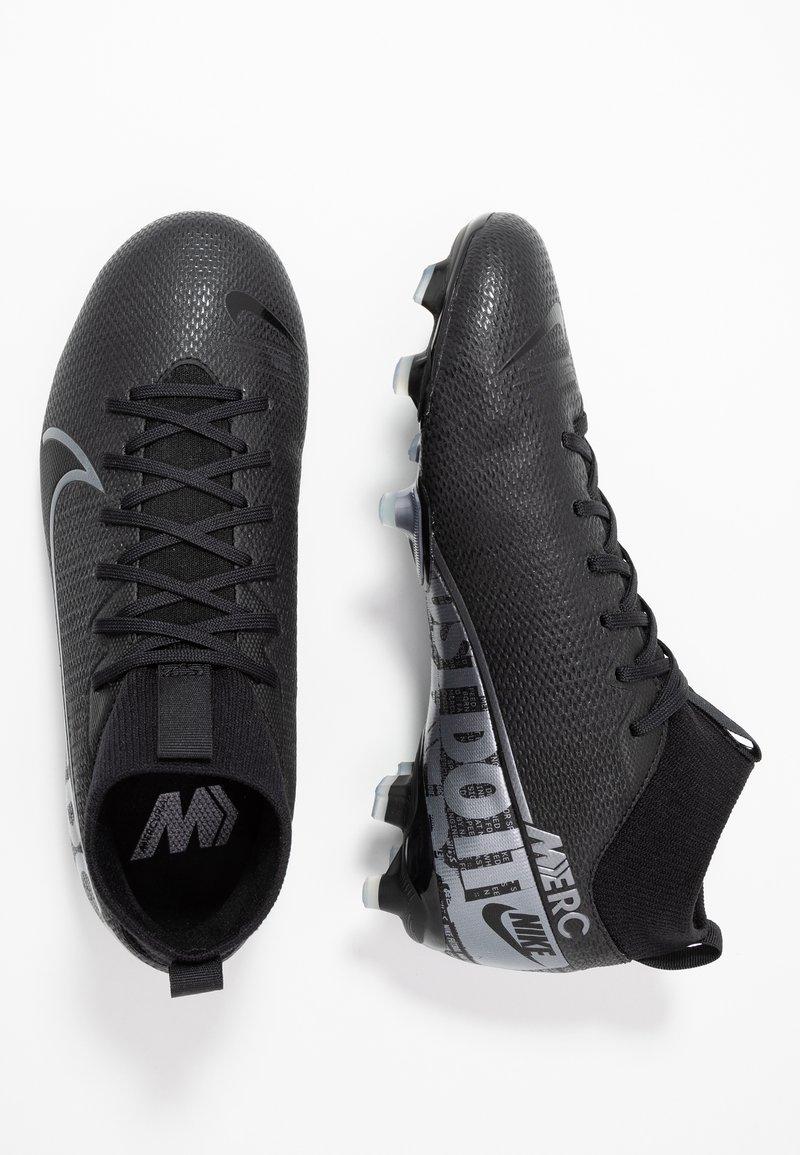 Nike Performance - MERCURIAL 7 ACADEMY FG/MG - Voetbalschoenen met kunststof noppen - black/metallic cool grey/cool grey