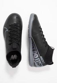 Nike Performance - MERCURIAL 7 ACADEMY IC - Halówki - black/metallic cool grey/cool grey - 0
