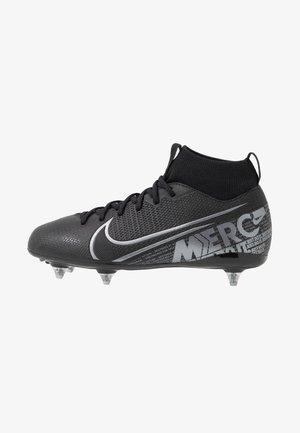 MERCURIAL JR 7 ACADEMY SG - Moulded stud football boots - black/metallic cool grey/cool grey