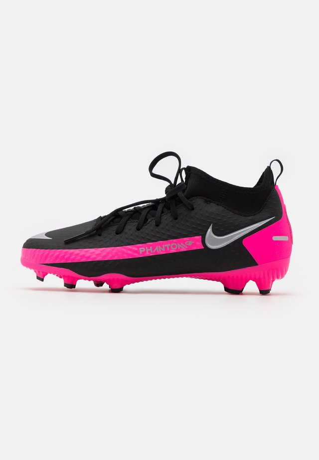 JR PHANTOM GT ACADEMY DF FG/MG UNISEX - Fußballschuh Nocken - black/metallic silver/pink blast