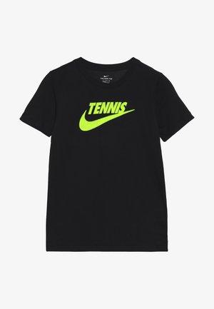 TEE TENNIS - Print T-shirt - black/volt